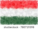 flag of hungary with snowflakes.... | Shutterstock .eps vector #780719398