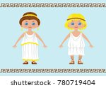 two characters in chibi style... | Shutterstock .eps vector #780719404