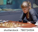 Small photo of ST. PETERSBURG, RUSSIA - DECEMBER 4, 2017: Olga Girya in the match against Alexandra Goryzchkina during super finals of 67th Russian women's chess championship. Goryzchkina won the match