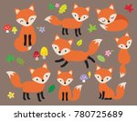 cute fox vector illustration in ... | Shutterstock .eps vector #780725689