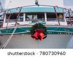 Boat Docked At Marina Adorned...