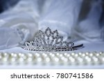 tiara and pearls with wedding... | Shutterstock . vector #780741586
