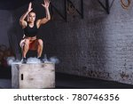 young woman jumping box and... | Shutterstock . vector #780746356