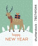 a winter holidays greeting card ... | Shutterstock .eps vector #780749344