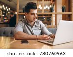 business man talking on the... | Shutterstock . vector #780760963