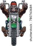gorilla riding a motorcycle   | Shutterstock .eps vector #780763684