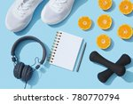 sports flat lay with oranges ... | Shutterstock . vector #780770794