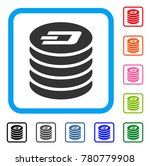 dash coin stack icon. flat grey ...