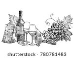composition of a bottle of wine ... | Shutterstock .eps vector #780781483