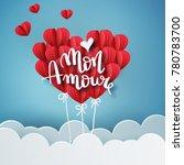 mon amour vector handwritten... | Shutterstock .eps vector #780783700
