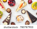 Various Tasty Sweets On Wooden...