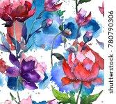 wildflower peony flower pattern ... | Shutterstock . vector #780790306