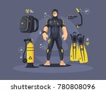 diver in wetsuit and diving... | Shutterstock .eps vector #780808096