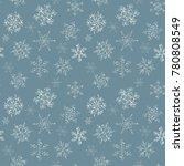 seamless blue pattern of hand... | Shutterstock .eps vector #780808549