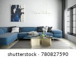 blue sofa and carpet in white... | Shutterstock . vector #780827590