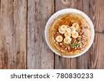a pile of pancakes  with banana ... | Shutterstock . vector #780830233