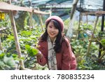 young asian girl in strawberry...   Shutterstock . vector #780835234