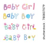 lovely english letters baby boy ... | Shutterstock . vector #780837079