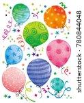 watercolor birthday balloons ...   Shutterstock . vector #780844048
