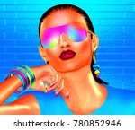 abstract party girl with... | Shutterstock . vector #780852946