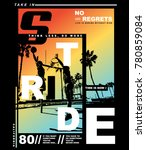 typography with venice beach... | Shutterstock .eps vector #780859084
