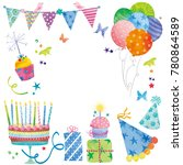 watercolor birthday balloons ... | Shutterstock . vector #780864589