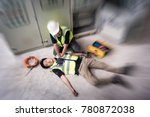 accident at work of electrician ...   Shutterstock . vector #780872038