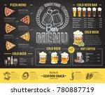 vintage chalk drawing beer menu ... | Shutterstock .eps vector #780887719