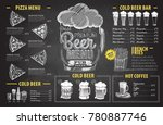 vintage chalk drawing beer menu ... | Shutterstock .eps vector #780887746