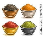 vector set of indian spices in... | Shutterstock .eps vector #780892798
