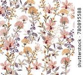 seamless pattern wild flowers  ... | Shutterstock .eps vector #780895588