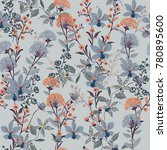 seamless pattern wild flowers   ... | Shutterstock .eps vector #780895600