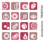 mixed fruit icons collection | Shutterstock .eps vector #78089566