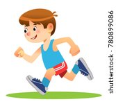 boy running. marathon runner or ... | Shutterstock .eps vector #780899086