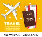 air travel banner with plane... | Shutterstock .eps vector #780908686