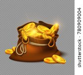 cartoon big old bag with gold... | Shutterstock .eps vector #780909004