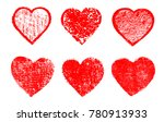 grunge hearts for valentines... | Shutterstock .eps vector #780913933