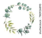 watercolor hand painted wreath... | Shutterstock . vector #780926890