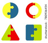 jigsaw color puzzle set. vector ... | Shutterstock .eps vector #780936454