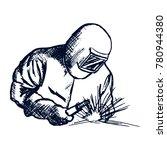 hand drawn logo welder black... | Shutterstock .eps vector #780944380