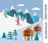 ski season in the winter alps.... | Shutterstock .eps vector #780972940