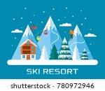 ski season in the winter alps.... | Shutterstock .eps vector #780972946