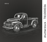 hand drawn old farmer pickup... | Shutterstock .eps vector #781000036