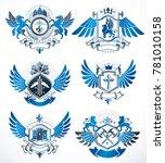 collection of heraldic... | Shutterstock . vector #781010158