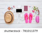 overhead top view  flat lay ... | Shutterstock . vector #781011379