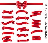 red ribbon and bow with... | Shutterstock .eps vector #781014910