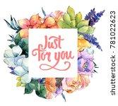 flower composition frame in a...   Shutterstock . vector #781022623