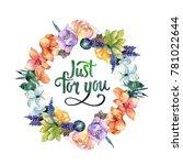 flower composition wreath in a...   Shutterstock . vector #781022644