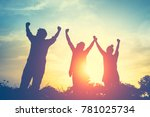 silhouette of happy family... | Shutterstock . vector #781025734
