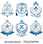 set of old style heraldry... | Shutterstock . vector #781026994